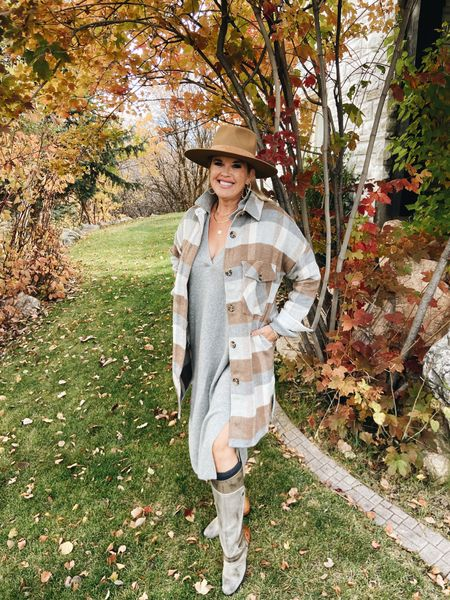 Are you on the Shacket Trend ? I have actually loved them for several seasons now!  And,, they just keep getting better and better…  Here I paired a fun plaid one by Evereve  with a H&M sweater dress boots and a Lack of  color hat! 🍂🍁 🍁🍂 Great way to layer for Fall✔️  This would also make a great gift 🎁  . . . .   #LTKshoecrush #LTKstyletip #LTKSeasonal