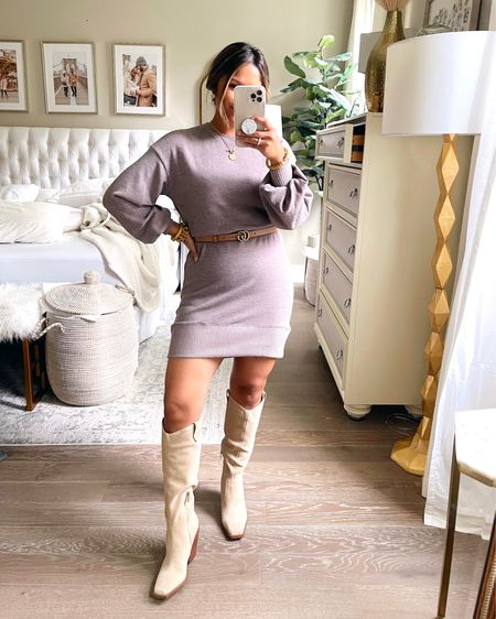 This sweater dress is super lightweight so it's great to wear now since it isn't even cool yet! I paired it with knee high boots, but it also looks so cute with booties and mule slides. I'm only 5 ft so I belted it to shorten it some. Take 15% OFF with code: HAUTE15 … #sweaterdress #gibsonlook #guccibelt #vincecamuto #sweater #kneehighboots   #LTKsalealert #LTKshoecrush #LTKunder100