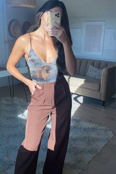 Casual outfit Trousers Neutrals Bodysuit  On sale   #LTKSeasonal #LTKstyletip #LTKunder50