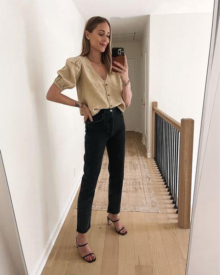 #amazonfashion puff sleeve button front top (small) black jeans, black heeled sandals (tts) #falloutfit #amazonfinds  #LTKstyletip #LTKunder100 #LTKshoecrush