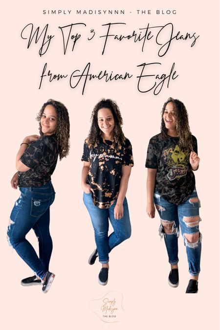 Brand new review on my favorite American Eagle jeans is officially live over at SimplyMadisynn.com 😍 I'm wearing a 6 in all three pair and love them so much!  Two are high waisted and one is not, but so comfortable & will have you feeling fabulous💕 The jeggings are on sale for $30 too😌 everything is linked and all the tees are from my shop at shopsimplymadisynn.com 😌😍  #LTKunder50 #LTKsalealert #LTKunder100