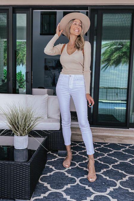 Summer outfit, White denim, nude sandal, nude cut out sweater, legging, Straw hat, backpack bag    #LTKSeasonal #LTKunder50 #LTKstyletip