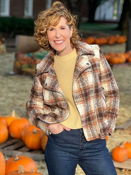 Fall outfit, plaid jacket, plaid moto, fall jacket, cream sweater, crewneck sweater, button front jeans, Tory Burch earrings  Thanksgiving outfit - DONE! This on-point fall plaid coat is exactly what you need for warmth and style! I paired it with a butter colored sweater underneath and button front skinny jeans. All fit TTS.  #LTKunder50 #LTKstyletip #LTKSeasonal