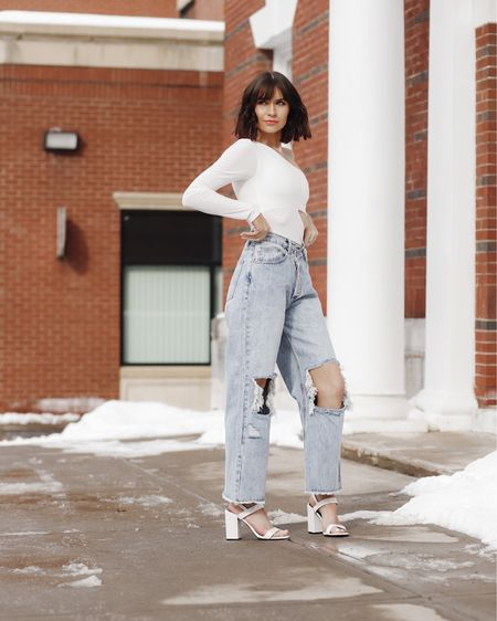 http://liketk.it/3a6Zu #liketkit @liketoknow.it  the perfect spring look under $90!  Sizing 25 in jeans  Small in bodysuit