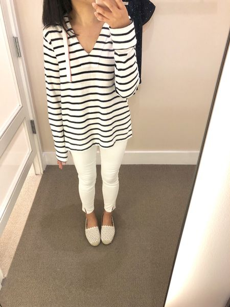 """This striped hoodie is so cute and comfy! Size XS regular is a relaxed fit on me and I'm 5' 2.5"""". The sleeves are very long (almost to the tip of my thumbs minus my fingernail). The cuff at the end of the sleeves fold up well. The white jeans I went down one size to 24/00P. @liketoknow.it http://liketk.it/2wsdB #liketkit #LTKsalealert #LTKshoecrush #LTKunder50 #LTKunder100 #LTKstyletip"""