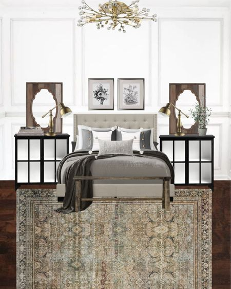 Beautiful Modern European Cottage bedroom decor! http://liketk.it/3hL66 @liketoknow.it #liketkit #LTKhome #LTKunder100 #bedroomdecor #bedroomdecorating #bedroomrug #upholsteredbed #cozyhomedecor