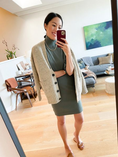 One cardigan, three ways! #ad I'll be sharing 3 ways to wear this perfect cardigan. First up: this turtleneck sweater dress in a beautiful shade of green. The fabric is soft and stretchy. I'm wearing a small in both. #WalmartFashion   #LTKSeasonal #LTKstyletip #LTKunder50