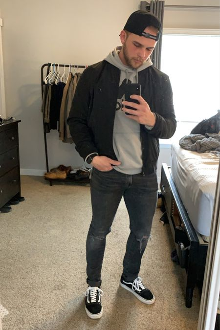 Going with a street style today. Some black distressed skinny jeans or ripped skinny jeans. Layering an adidas hoodie with a black bomber jacket. Top it off with a black hat and some classic vans 👌🏻 http://liketk.it/2N5ew #liketkit #LTKmens #LTKunder50 #LTKstyletip @liketoknow.it