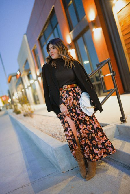 The floral maxi skirt! A must-have fir fall I recently found at Walmart! #ad I'm completely in love with it and adore how it looks with suede boots! It runs true to size, I'm wearing size small. 🍁 fall fashion, fall outfit #Walmartfashion  #LTKitbag #LTKHoliday #LTKunder50