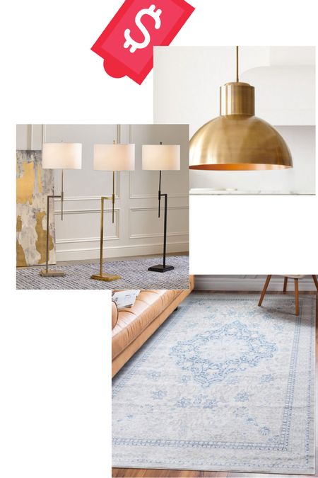 Memorial Day sale finds! The new gold pendant light is perfect to go over your kitchen island and this rug is 50-70% off right now!   #LTKhome #LTKsalealert #LTKunder100