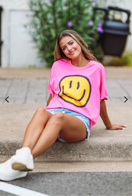 Hot pink smile graphic oversized tee. Size S/M mine will be here today!  Other one linked too! Only $34!   #LTKtravel #LTKunder50 #LTKstyletip