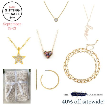 The LTK Early Gifting Sale ends tomorrow! All of your jewelry favorites and bestsellers from The Styled Collection are on sale for 40% off through September 21st, only in the LTK app!  . Pendant necklace layering necklace paperclip chain pavé hoop earrings barefoot Dreams blanket dupe Hermès blanket dupe bezel necklace coin necklace   #LTKSale #LTKsalealert #LTKunder50