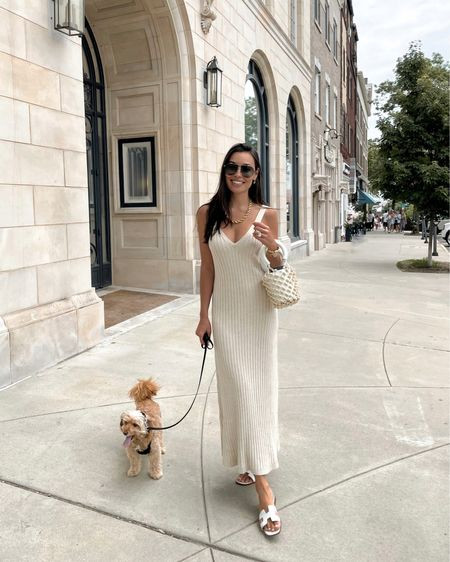 Ribbed dress with white summer sandals. http://liketk.it/3hy6y #liketkit @liketoknow.it #summerstyle #mididress #sandals