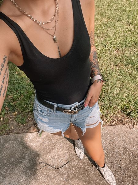 I love this casual outfit for the summer! You could always add a jacket for the fall. Bodysuit is a size 6.  #LTKunder50 #LTKsalealert #LTKstyletip