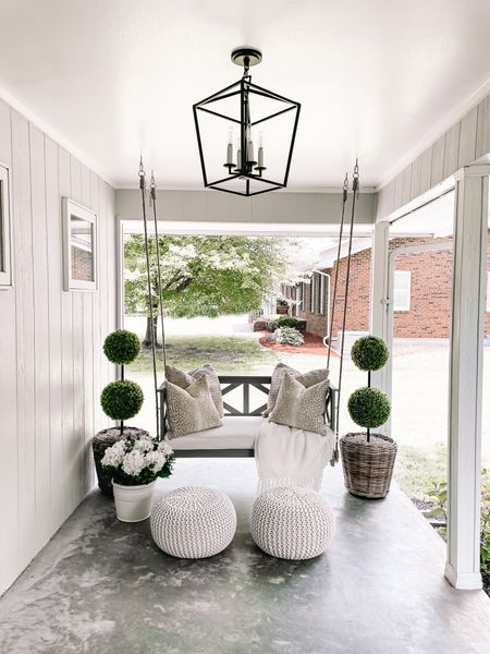 If you need me I'll be right here on the porch swing 😻 soaking up my last few days of summer!  I cannot get enough of this @generationlighting pendant light! 🤍 We fiiiinally have started on this back patio area and added 2 of these gorgeous lights all thanks to Generation Lighting! They offer the most fantastic light fixtures. We also added one over our outdoor dining table + I'll be sure to share that space soon! xx  #LTKhome