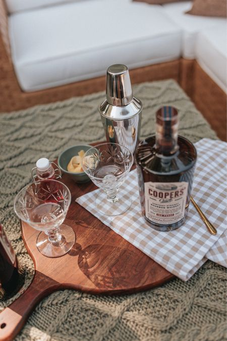 fall inspired cocktail and date night at home idea - mix up a new cocktail and enjoy your outdoor space together! coupe glasses, mini bowls, tea towel, charcuterie board   #LTKunder100 #LTKhome #LTKstyletip