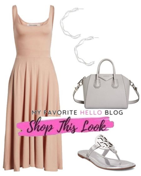 Vacation summer dress outfits with blush dress and Tory Burch Miller sandals. Summer outfit with silver Tory Burch sandals. http://liketk.it/3gNFe #liketkit @liketoknow.it #summeroutfit #vacationdress #toryburch   #LTKshoecrush #LTKunder100 #LTKstyletip