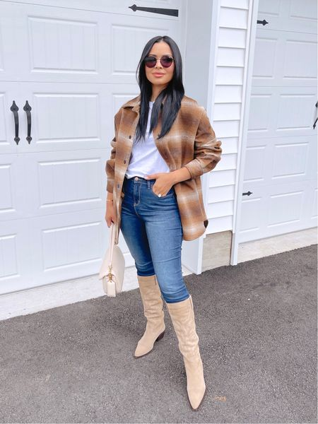 Fall outfit inspo 🤠 loving this shacket! I'm wearing size medium. The back has a beautiful fun fringe detail!  My jeans are Walmart find, wearing size 5