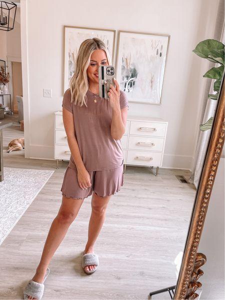 Wearing small in pajamas (ALEXA40 for discount) // slippers true to size // loungewear //    #LTKstyletip #LTKunder50 #LTKshoecrush