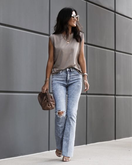 I'm wearing a size 2 jeans and small top, I'm just shy of 5'7 for reference. LTK day, high waisted jeans, muscle tee, summer outfit, date night, StylinbyAylin @liketoknow.it #liketkit http://liketk.it/3hd1s   #LTKDay #LTKstyletip #LTKunder100