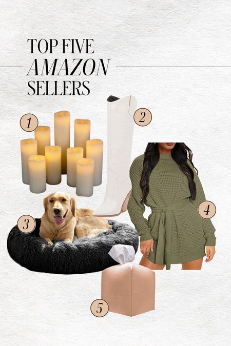 TOP FIVE AMAZON SELLERS  — Flameless candles for fall decor — Which knee high weather boots — Dog bed — Sweater dress — Tissue box cover  #LTKstyletip #LTKunder100 #LTKhome