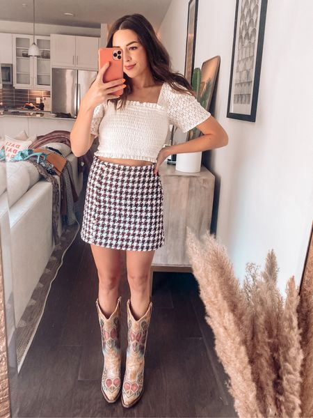 Skirt outfit / football game day outfit / cowboy boots   #LTKfit #LTKunder100 #LTKSeasonal
