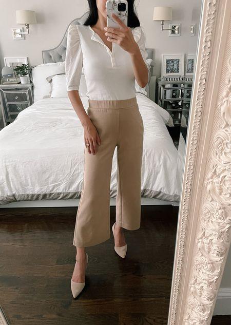 40% off work from home / Zoom ready pieces from Ann Taylor // use code ANNVIP for 40% off  •Puff sleeve ribbed henley xxs petite (also in a beautiful cornflower blue) •Wide leg pull on pants xxs petite (my color isn't currently available but I linked them in black + gray) •suede Azra pumps size 5  #LTKsalealert #LTKstyletip #LTKSeasonal