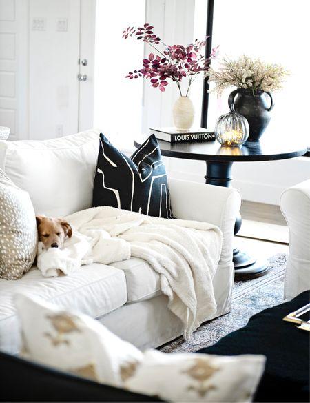 Home decor, living room furniture, target home, target Finds, Amazon home, Amazon Finds, fall Decour, living room pillows, throw pillows, bedroom pillows, black pillows, black-and-white, pottery barn, flower vase, black vase, fall flowers, antelope pillow, modern pillow, modern Decor, white walls, white living room, restoration hardware, living room rug, Amazon rug, black Decor,  #LTKHoliday #LTKSeasonal #LTKhome