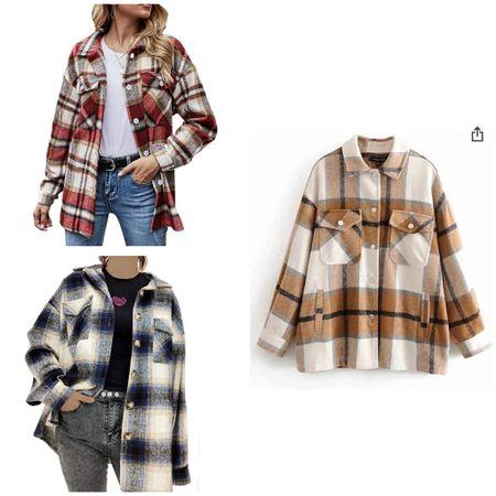 Shaket from amazon. Amazon fashion. Amazon finds. Shacket Shirt Wool Blend Checked Jacket.   #LTKunder50 #StayHomeWithLTK #LTKSeasonal