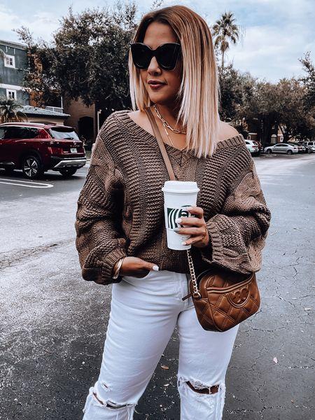 Chunky knit sweater, white denim, mules, Tory Burch crossbody, oversized sunglasses, layered necklace, diamond studs   #LTKSeasonal #LTKstyletip #LTKunder50