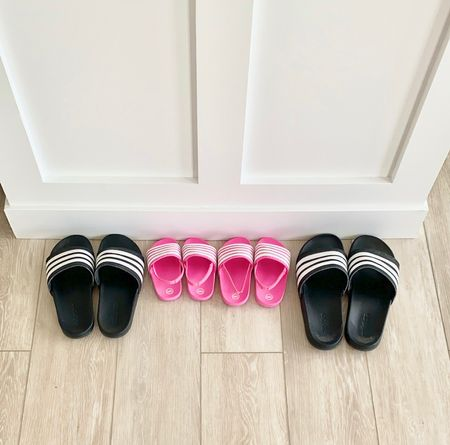 Adidas comfort slides are our fav. And our girls wanted some too! They don't quite fit into the Adidas ones yet but I found these for under $8 and fast shipping!!   #LTKshoecrush #LTKfamily #LTKunder50