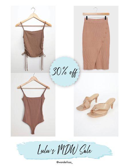 Lulus MDW sale! Take 30% off with code HELLOSUMMER 💥   #nudes #neutrals #tan #heelsandal #bodysuit #ribbed #skirt  #LTKsalealert #LTKSeasonal #LTKunder50