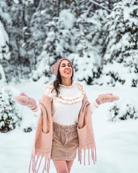 Does anyone else find pastels especially pretty on snowy days? Had so much fun catching flakes in my blush scarf, mittens, and beanie. Also currently obsessing over this ruffled honeycomb knit sweater in cream!  #LTKtravel #LTKSeasonal #LTKunder50