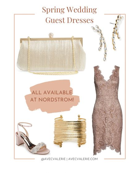 Wedding season is around the corner! Whether you're going stag or coupled up, you'll want to be the best-looking wedding guest. I would wear a lace cocktail dress with studded heels and drop earrings. Then I'd finish off the outfit with a champagne clutch and gold cuff. Best of all, you can find every item at Nordstrom! Find your size and color now.  #LTKSeasonal #LTKwedding #LTKstyletip