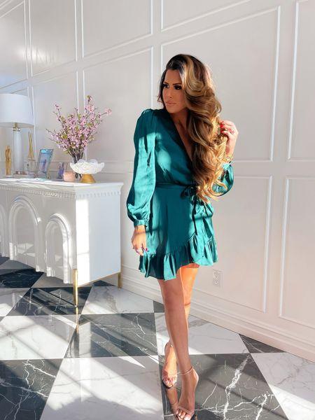 Wedding guest dress, silk wrap dress, emerald dress, fall dress, holiday dress, dillards, Gianni Bini, fall dresses, dress, nude heels, date night outfit, Emily Ann Gemma, http://liketk.it/3mMBb  #LTKwedding #LTKstyletip