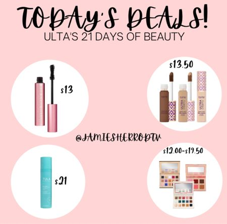 Today's deals for Ulta's 21 Days of Beauty are some GREAT ones! 😍 Too Faced Better Than Sex Mascara, Tula Resurfacing Toner, Tarte Shape Tape Concealer & Nabla Eyeshadow Palettes are 50% off today only!!!  #LTKunder50 #LTKbeauty #LTKSpringSale
