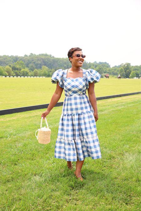 Blue gingham puff sleeve dress straw handbag #summerdress #hunterbellnyc    #LTKSeasonal