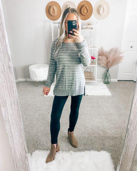Sweater: small Leggings: small . . . Grace and lace, leggings, fall outfits, sweater, grey sweater, casual sweater   #LTKunder50 #LTKSeasonal #LTKstyletip