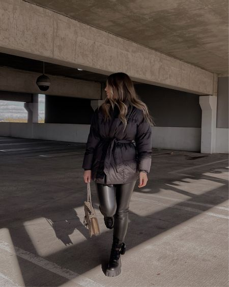 puffer jacket, leather leggings + big chunky boots 🖤 http://liketk.it/36Ims #liketkit @liketoknow.it