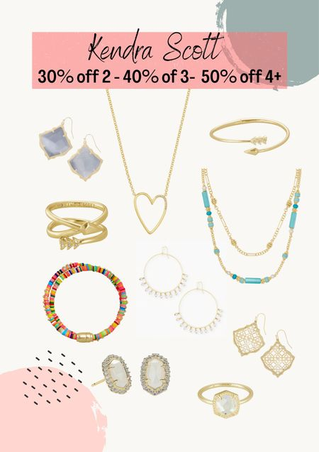 Kendra Scott sale 30% off 2, 40% off 3 and 59% off 4 or more. Great gifts. Gift ideas. Women's jewelry. Fashion jewelry   #LTKsalealert #LTKunder50 #LTKunder100