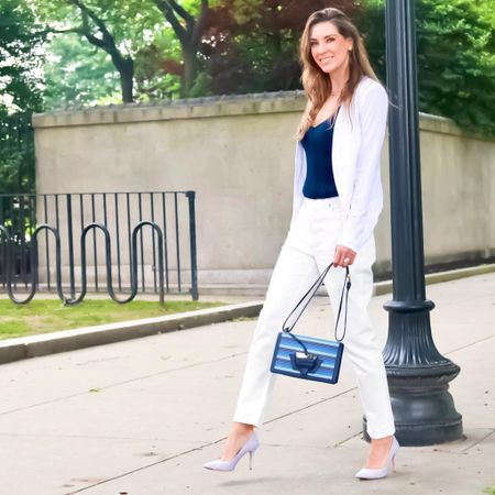 Love the look of white denim! Check out this simple business outfit I rounded up together with a white blazer and navy tank/cami top. | #workwear #businessoutfit #workoutfit #whitedenim #EverlaneDenim #blazers #workblazer #camitop #whitecami #fallbasics #falloutfit #fallworkwear #JaimieTucker  #LTKworkwear #LTKstyletip