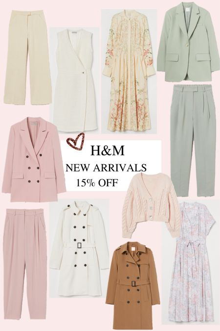 15% off for all H&M members which is so easy to join! Spring outfits - spring - suit - pink suit - pastel green suit - sage green - pink - spring dresses - modest dress - floral dress - cable knit cardigan - pink knit - trench coat.    #LTKVDay #LTKSeasonal #LTKunder50