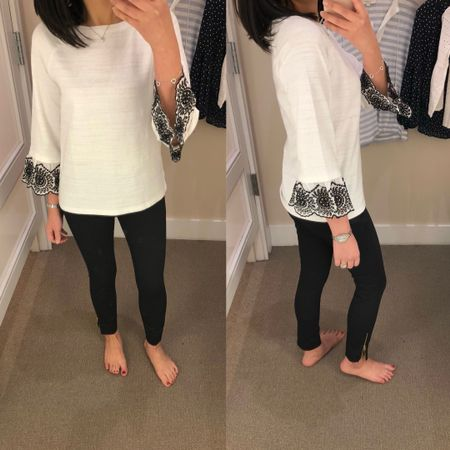 I tried on this top in size XXSP which fits like a loose size XSP or a true size SP. The material is thicker so it's not see through. @liketoknow.it http://liketk.it/2v6Ir #liketkit #LTKsalealert #LTKunder50 #LTKunder100
