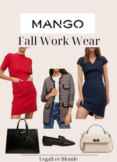 Fall work wear faves! These would be great for a day in the office! - work dresses - wear to work - sheath dress - women's cardigan - office outfit - business casual - professional outfit - pockets knit dress - red dress - button knit cardigan - pebbled shopper bag