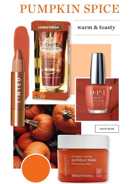 Ulta has Fall Mood Boards. First one up, PUMPKIN SPICE.   Warm and Toasty  Andalou Naturals Pumpkin Honey Glycolic Mask  Live Tinted Huestick Corrector  Hempz Limited Edition Pumpkin Spice & Vanilla Chai Herbal Hand Crème  OPI Infinite Shine Long-Wear Nail Polish, Oranges/Yellows/Greens Follow me in the @LIKEtoKNOW.it shopping app to shop this post and get my exclusive app-only-content!  #liketkit #ulta #pumpkinspice #andalounaturals #pumpkin #fallcolors #livetinted #makeup #facemask #hempz #handcream #opi #nailpolish @shop.ltk