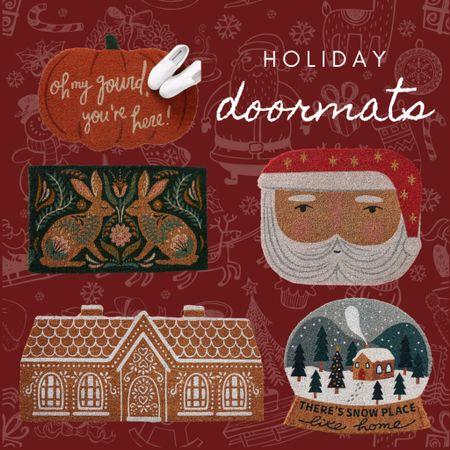 Holiday doormats,  Christmas doormats, fall doormats, Halloween doormats, snow globe doormat, gingerbread house doormat, Santa doormat, pumpkin doormat   #LTKhome #LTKHoliday #LTKSeasonal
