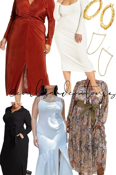 Plus size dresses perfect for fall engagement photos!   #LTKwedding #LTKcurves #LTKSeasonal