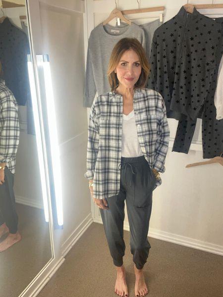 Sharing this casual chic look from @loft that is on major sale today.  Lou & Grey joggers, flannel shirt, white tee, loft jogger outfit, fall outfit, fall fashion    #LTKstyletip #LTKunder50 #LTKsalealert