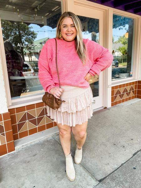 Fall plus size outfit. Fall skirt. Fall free people pink sweater. Steve Madden booties. Wearing xxxl in skirt from rock n rags.   #LTKSeasonal #LTKunder100 #LTKcurves
