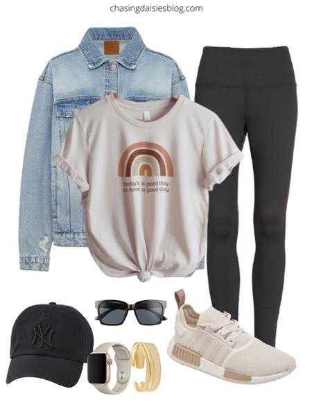 Spring outfit guide: shop this spring athleisure outfit. If you're looking for casual outfits or athleisure outfits on sale then you'll love casual spring outfits, including lululemon leggings, a jean jacket, cute sneakers under $50, and more #springoutfits #athleisure #lululemon #sneakers #LTKSeasonal #LTKshoecrush #LTKstyletip @liketoknow.it #liketkit http://liketk.it/38rtc